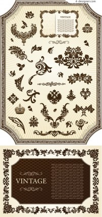 European classical decorative pattern frame vector material