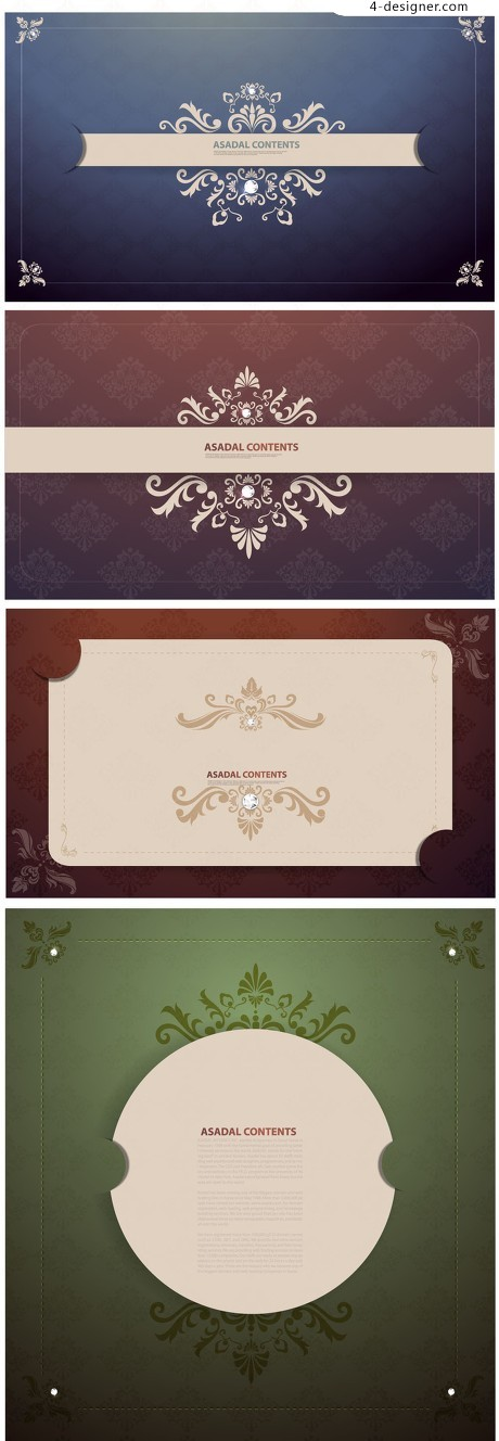 European style lace pattern card vector material