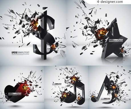 Explosion dimensional vector graphics material