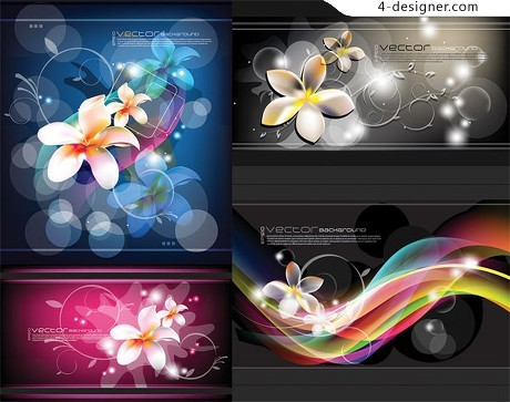 Exquisite flowers and fantasy background vector material