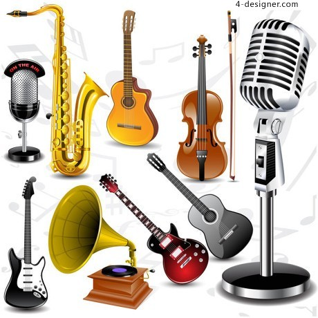 Exquisite musical instruments vector material