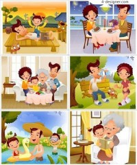 Family life characters vector material
