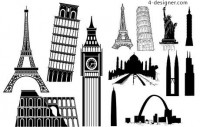 Famous buildings vector material