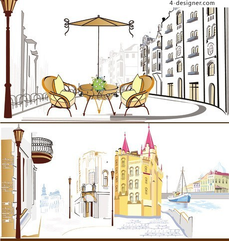 Five European and American street scenery vector material