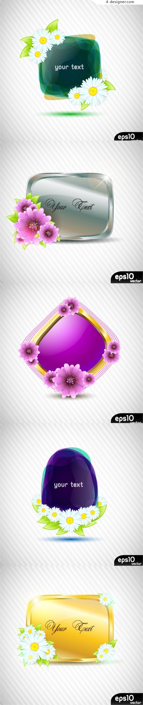Flowers and texture border vector material