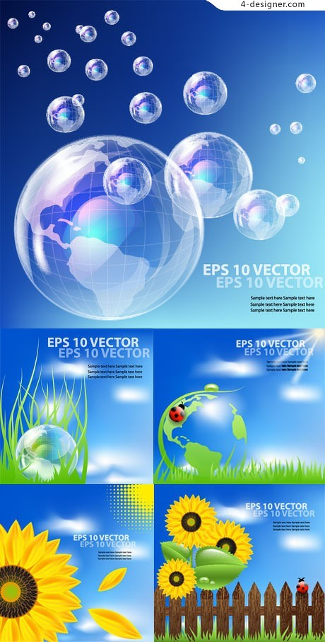 Fresh and natural ecological template vector material