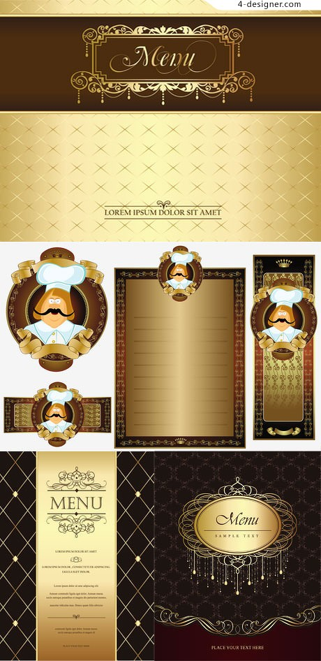 Gold Retro menu template vector material