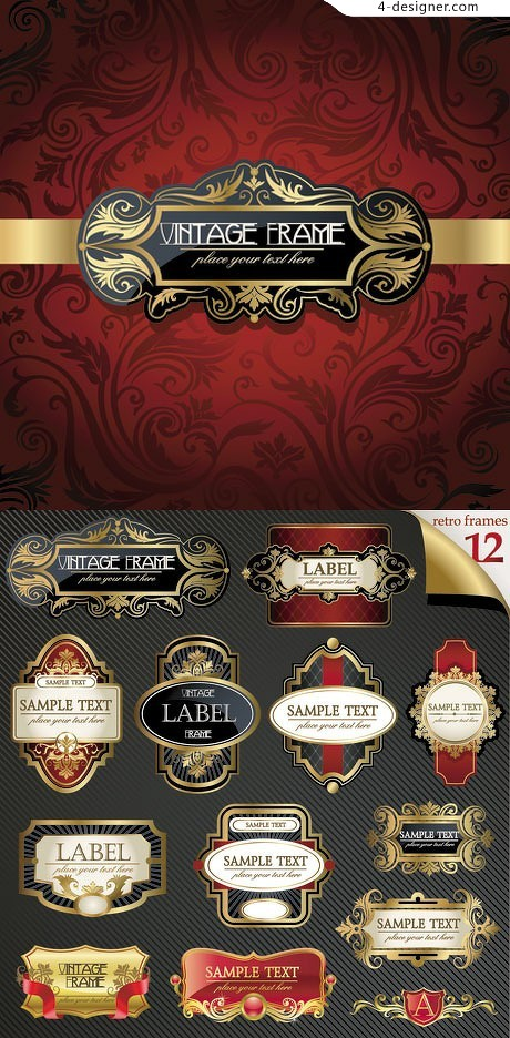 Golden Continental gorgeous bottle label vector material