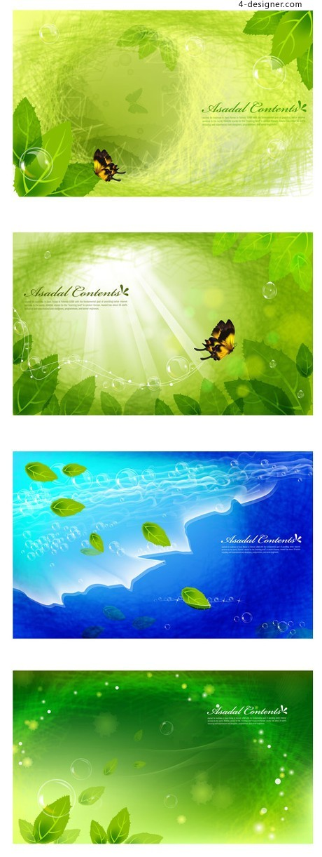 Green leaves background Butterfly Dream vector material