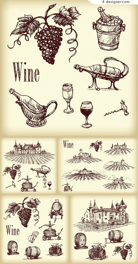 Hand painted wine vector material