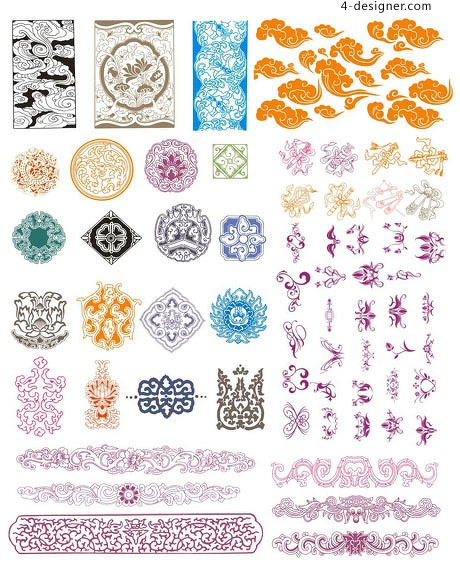 Hundred models of traditional Chinese border pattern vector material
