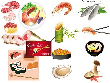 Japanese seafood vector material