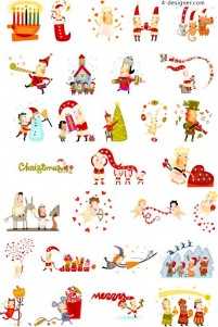 Lovely Christmas character vector material