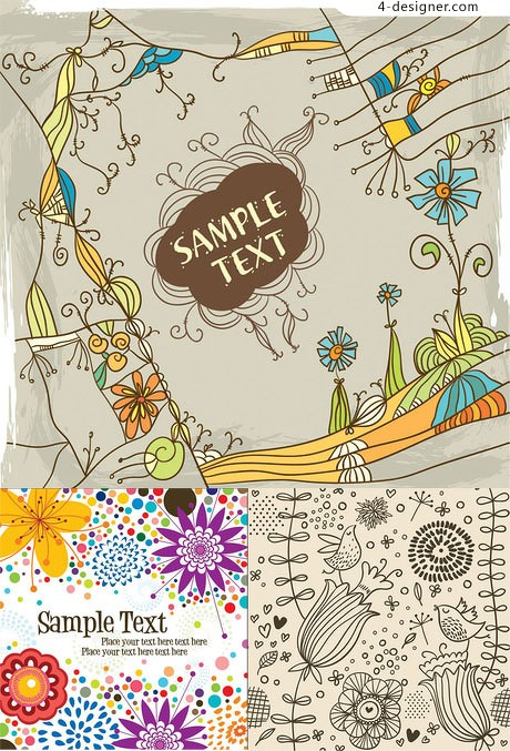 Lovely hand painted background pattern vector material