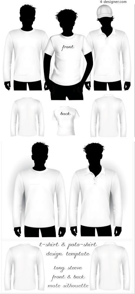 Men s clothes blank template vector material