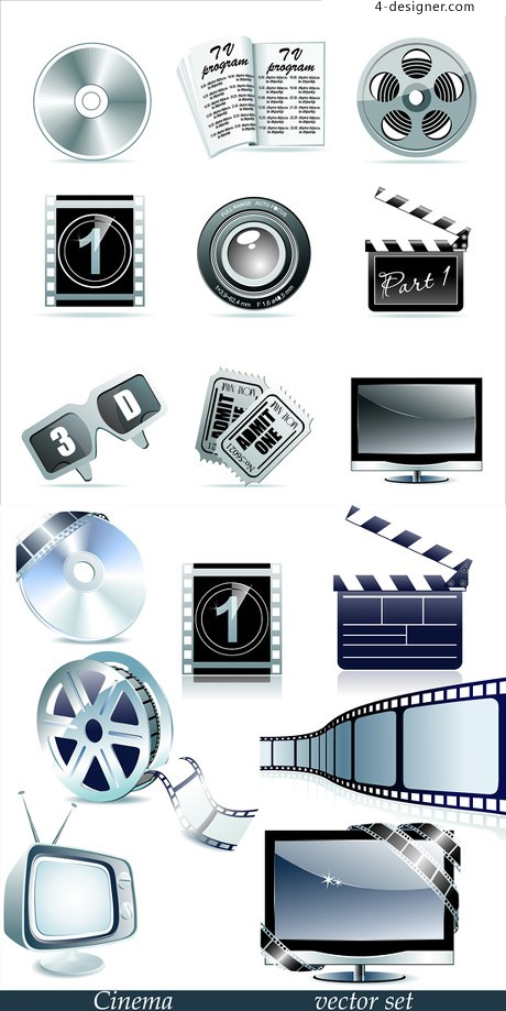 Movie Theme icon design element vector material