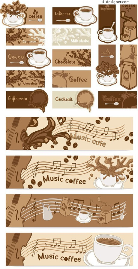 Music Cafe card business card background vector banner