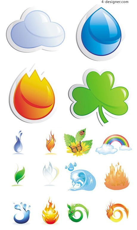 Nature theme icon vector material