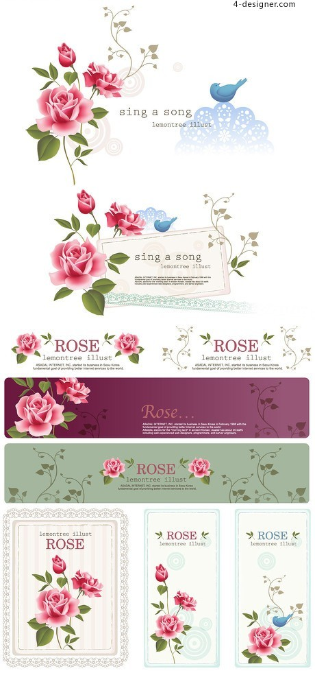 Roses background vector material