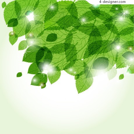 Spring Green leaves vector material