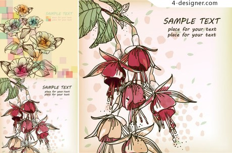 Spring flowers and elegant hand painted background vector material