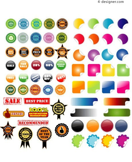 Stickers and signs vector material