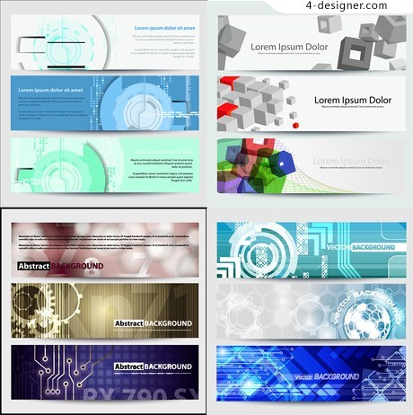 Symphony dynamic technological banners vector material