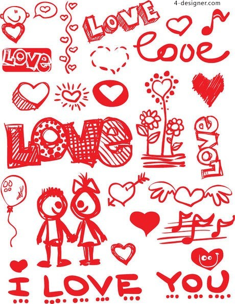 Valentine painted graffiti style vector material