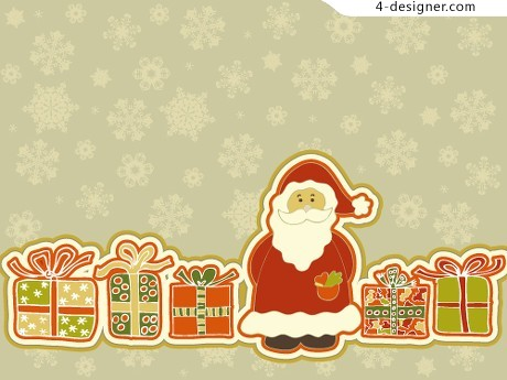 Variety of Christmas cartoon background vector material