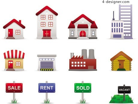 Variety of Urban Housing theme icon vector material