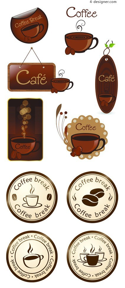 Variety of coffee label vector material