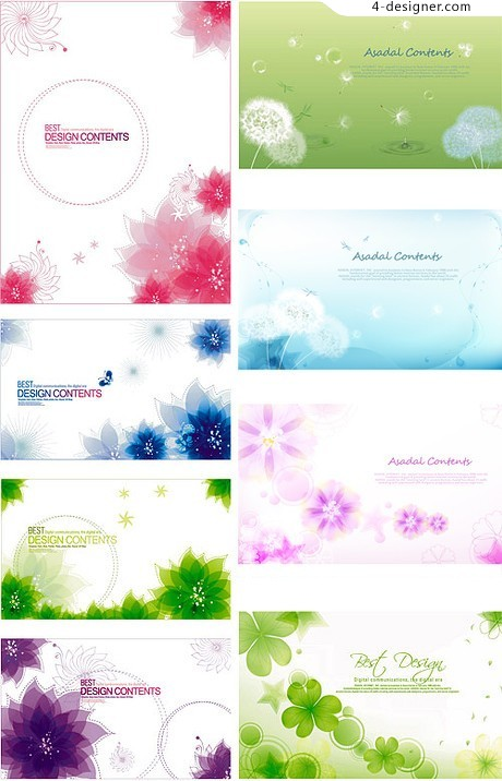 Variety of fantasy flowers background vector material