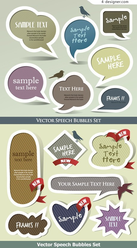 Variety of language box label vector material
