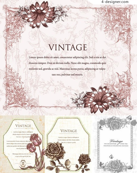 Vintage card cover pattern vector material