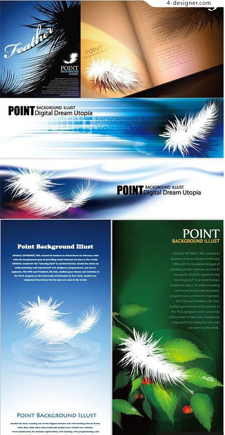 White feathers decorate background vector material