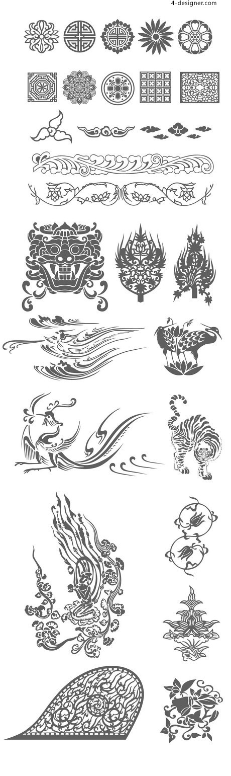 27 traditional pattern vector material