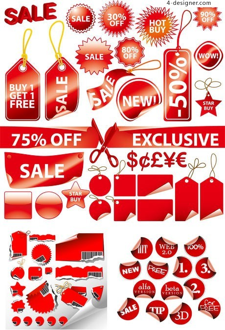 A variety of red decorative label vector material