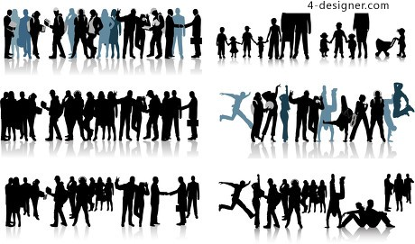 All kinds of figures silhouette vector material
