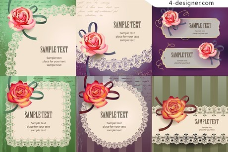 Beautiful roses card vector material