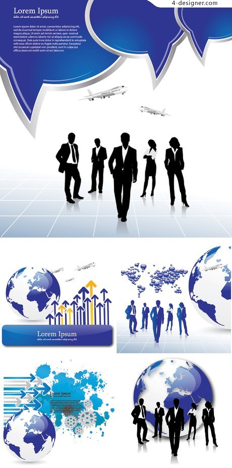 Business figures silhouette and Earth vector material