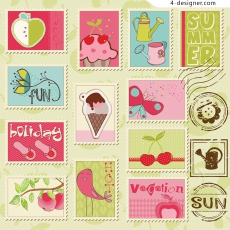 Cartoon illustration of stamps vector material
