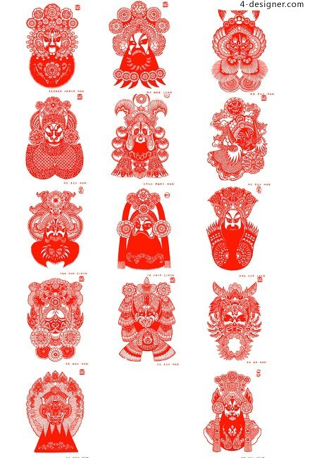 Chinese paper cut material out between