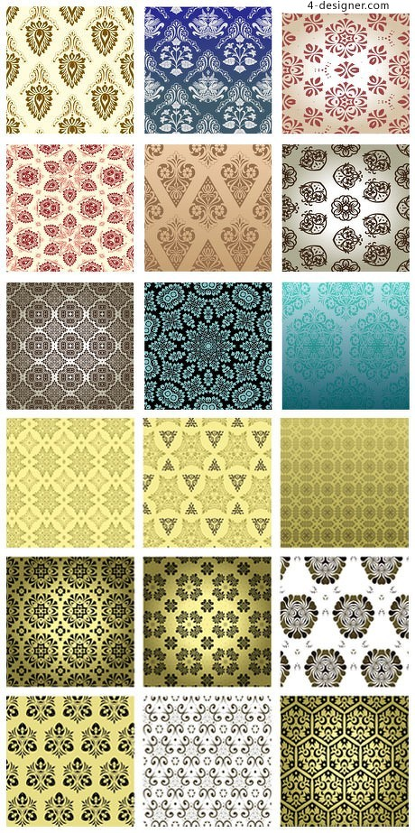 Classical ornate wallpaper pattern background vector material
