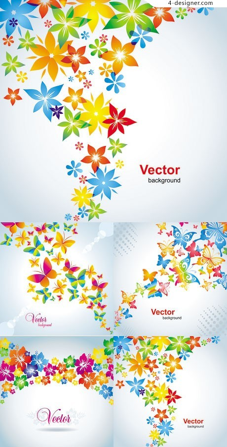 Colorful spring flowers background vector material
