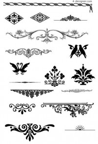 Continental gorgeous pattern element vector material