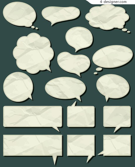 Crumpled paper Shading dialogue bubbles vector material