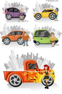 Cute cartoon characters and car vector material