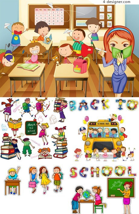 Cute cartoon school students vector material