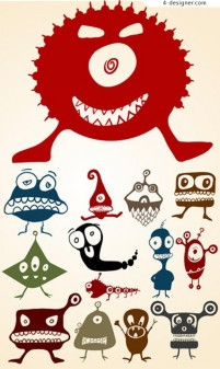 Cute little monster vector material