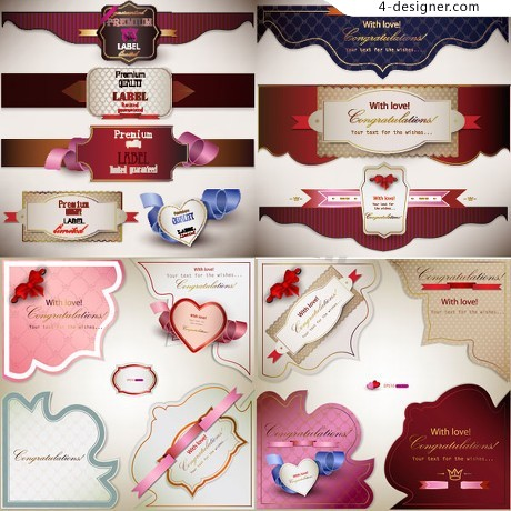Exquisite heart shaped tag vector material